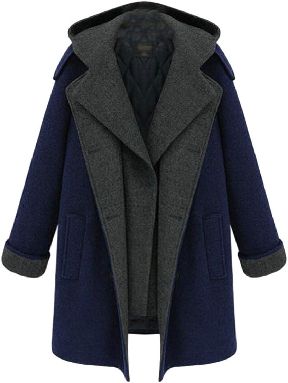 Esast Women's Pea Coat Hooded Drawstring Boyfriend Trends Two Piece Jacket