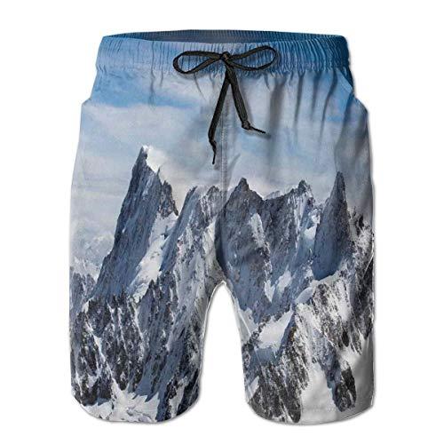 ZMYGH Herren Sports Beach Shorts Boardshorts,Picturesque Mont Blanc Cliff to Cloud Idyllic Environment Trekking Landmark,Surfing Badehose Badeanzüge Badebekleidung