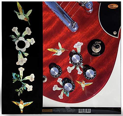 baratos y buenos Pegatina de guitarra, control de volumen / tono Pájaros y flores (colibríes) calidad