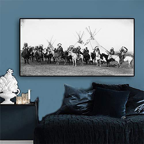 NIMCG Quadro Dipinto e Stampa Ritratto Femminile su Tela Quadri scandinavi Foto di Soggiorno (Senza Cornice) A1 60x120 cm