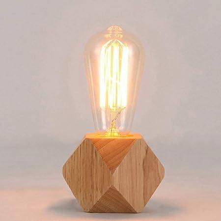 Mengjay Lampe de table moderne e27 Lampe de bureau en bois Lampe de chevet de diamant pour decoration de maison/chambre a coucher/salon Ue-Prise Base en bois (B)
