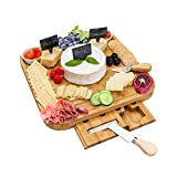 Cheese Board and Knife Set – Natural Bamboo Charcuterie Board Set – Elegant Cheese Platter with Hidden Drawer – Wooden Cheese Tray with Knives, Bowls, Slate Tags, and Chalk – Anti-slip Design