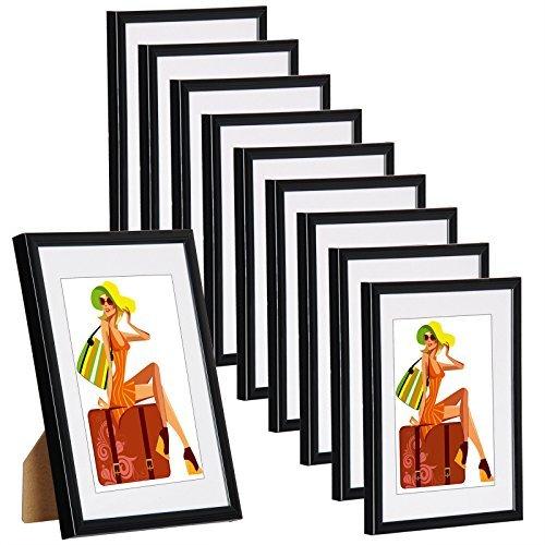 WOLTU BR9857sz-10 10er Set Bilderrahmen Bildergalerie Fotogalerie mit Passepartout, Foto Collage Galerie, aus Kunststoff, Echtglas, Schwarz, 10x15 cm