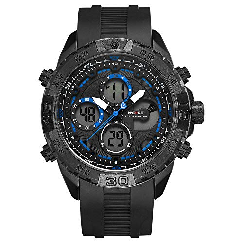Rantoloys WEIDE WH6909 Reloj electrónico Digital de Cuarzo Alarma de Doble Hora Calendario Cronómetro 3ATM Temporizador a Prueba de Agua Hombres Negocios Moda Deportes al Aire Libre Reloj Pulsera