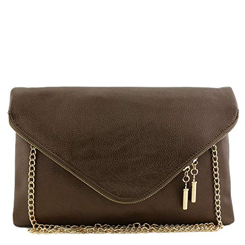 Large Envelope Clutch Bag with Chain Strap Bronze