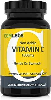CGM Labs- Non Acidic Vitamin C 1500mg with Calcium. Gentle on Stomach, Immune/Bone Support- 100 Caps