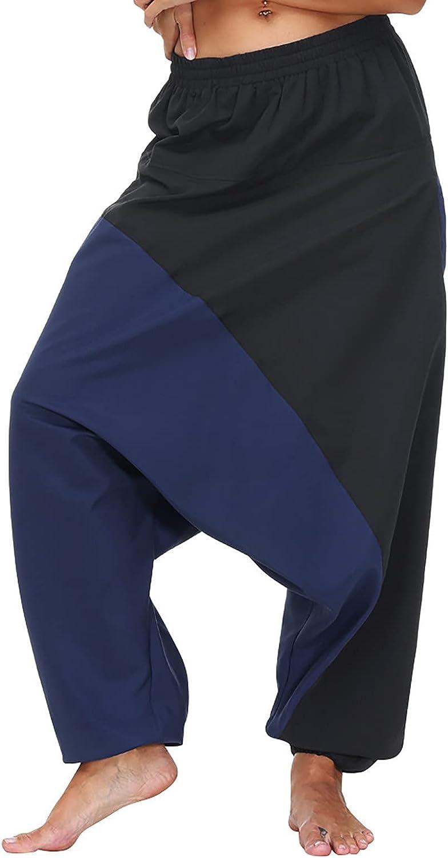 Harem Yoga Pants for Women Block Color Smocked Waist Boho Palazzo Lounge Pants Flowy Beach Hippie Pjs Pants