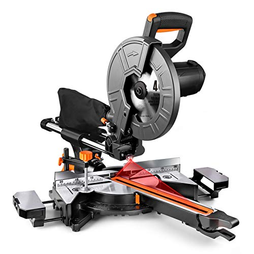 10-Inch TACKLIFE Sliding Compound Miter Saw, 15 Amp, Double Speed (4500 RPM & 3200 RPM), 3 Blades(40T&48T), 0°-45° Bevel Cut, Red Laser, Extension Table, Dust Bag - EMS01A