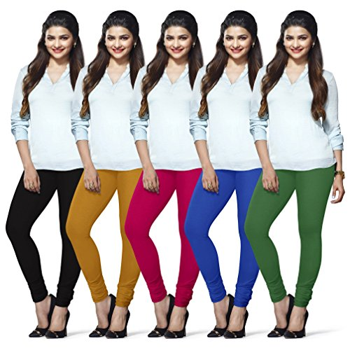 LUX LYRA Women's Cotton Churidar Leggings (Black, Free Size) - Pack of 5