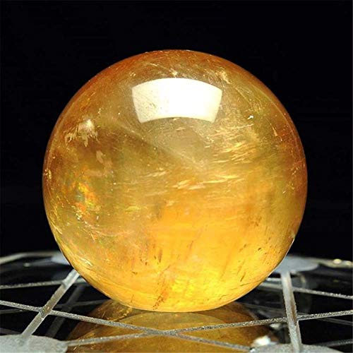 LAGEDOUDING Isla de Hielo Natural Bola de Piedra Calcita Esfera de Cristal de Cuarzo Piedra Bola de Cristal Citrino 4cm Hogar Piedra Natural Tallada, Amarillo