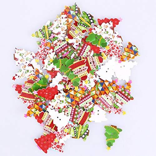 EXCEART Botón de Madera de Navidad 100 Piezas 2 Agujeros Botones de Madera con Forma de Árbol de Navidad Broches de Costura DIY Hebillas de Fijación para Manualidades (Color Aleatorio)
