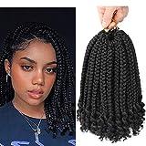 10 Inch Bob Box Braid Crochet Hair with Curly Ends 6...