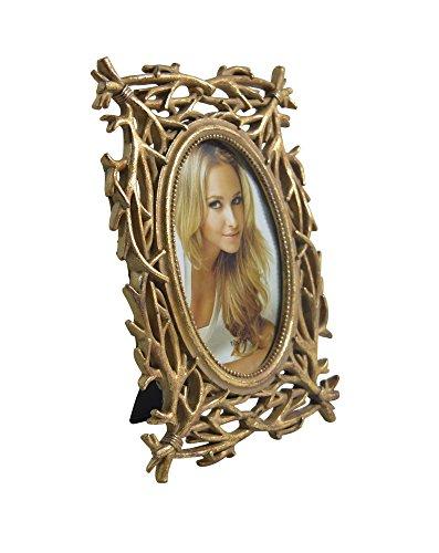 My Flair Bilderrahmen LIDA I, Polyresin, Glas, Rückseite schwarzes Papier, antik-Gold, 10 x 15 cm