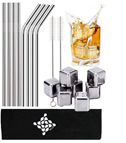 Nice® Strohhalm wiederverwendbar Edelstahl, aus Metall, Trinkhalme umweltfreundlich, Cocktail Set Zubehör, Geschenkset