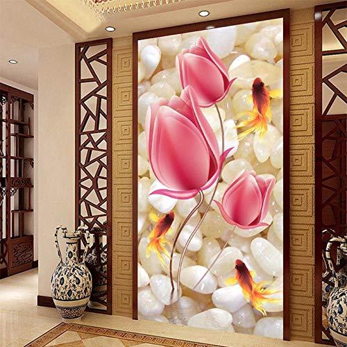 Shuangklei Hoge kwaliteit diepte textuur Relief 3D muurschilderingen Roze bloemen kiezelstenen goudvis fotobehang hotel woonkamer ingang achtergrond muur 450 x 300 cm.