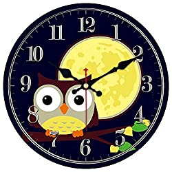 ShuaXin Cartoon Style Wooden Cute Home Wall Clock for Kids Room,Children Room and Kitchen,Large 14 Inch Owl Design Gray Numerals Study Room Wall Clock