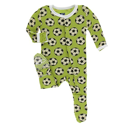 KicKee Pants Little Boys Print Footie with Snaps - Meadow Soccer, 18-24 Months
