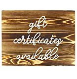 Darware Gift Certificates Available Sign, Wood Decorative Retail Store Display Sign for Gift Cards / Certificates (Brown w/ White Script)