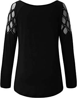 Women Solid Long Sleeve Hollow Out Cold Shoulder Shirt Blouse Tops