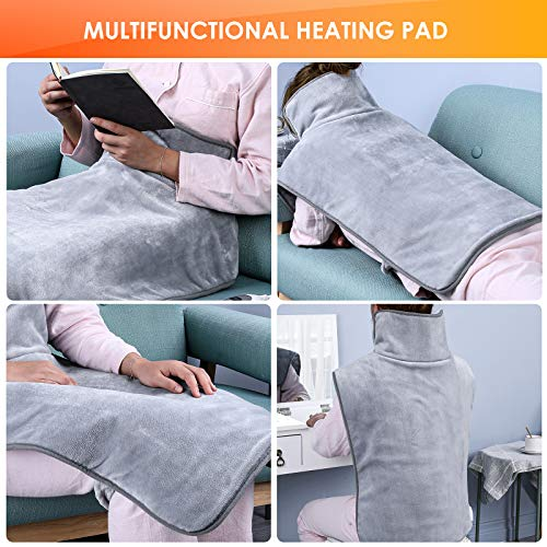 Femor Electric Heat Pad for Back,Shoulder and Neck, Fast Heating & Pain Relief, 3 Heating Levels(Grey)