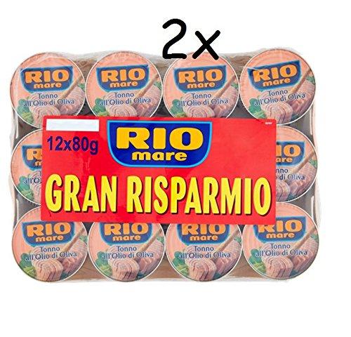 24x 80g Rio Mare Tonno olio di oliva 2x Mega pack (12x80g) Thunfisch in Olivenöl
