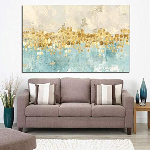 Lcgbw Abstract Gold Money Sea Wave olieverfschilderij op canvas, muurschildering, moderne kunst, voor woonkamer, doek + frame, 40 x 80 cm