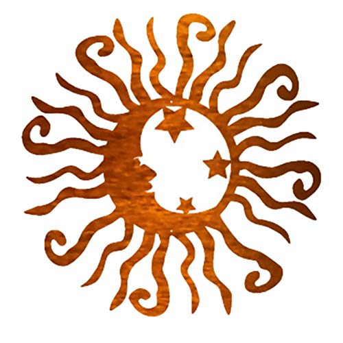 Cerolopy Sun Moon Wall Art Sculpture Sun and Moon Metal Wall Art Rustic and Weird Sun Moon Metal Wall Art Steel Decoration for Indoor and Outdoor Decoration(Yellow)