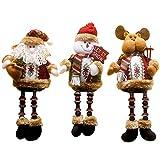MAZORT 3PCS/Set Super Cute Christmas Plush Toys Long Leg Sitting Santa Clause Snowman Reindeer Dolls Decorations Christmas Ornaments A