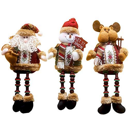 3PCS/Set Super Cute Christmas Plush Toy Long Leg Sitting Santa Claus Snowman Reindeer Doll Christmas Ornaments A
