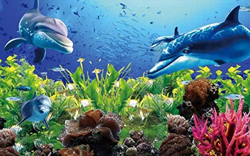 Wallpaper 3D Wall Murals Underwater World Aquarium Dolphin Wallpaper Wall Mural Living Room Bedroom Tv Background Wall Mural Decoration Art 430cmx300cm