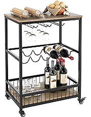 Bar Serveerwagentafel Keuken Wijn Opbergwagen met wijnrek/glazen houder, serveerwagen met afsluitbare wielen voor thuis, bruin, 60 x 40 x 82 cm