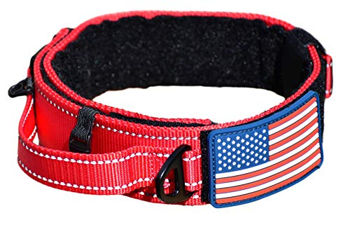 Dog Collar With Control Handle Quick Release Metal Buckle Heavy Duty Military Style 2' Width Nylon With USA Flag For Handling And Training Large Canine Male Or Female K9 (200C-REDTAC)