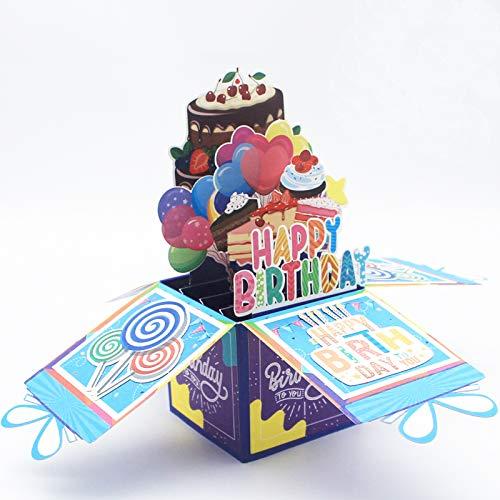 Happy Birthday Pop Up Card - 3D Birthday Greeting Card, Birthday Pop Up Card, 3D Birthday Card, Birthday Greeting Cards, Happy Birthday Balloons and Cake Pop Up Card