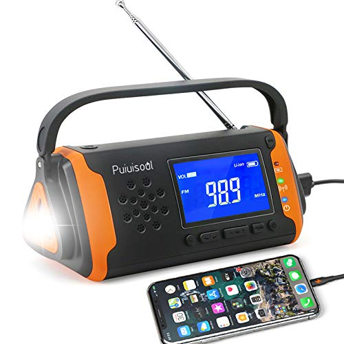 Emergency-Radio with NOAA Weather Alert, 4000mah Hand Crank Portable Solar Survival Radios with Aux,Electronic Display,AM/FM,SOS Alarm,Led Flashlight,Phone Charging,Battery Backup(Orange)