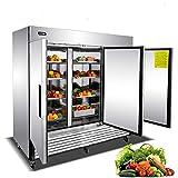 Commercial 3 Door Upright Freezer - KITMA Stainless Steel Side by Side Bottom Fridge with Shelves for Restaurant, Bar, 0°F - 8°F