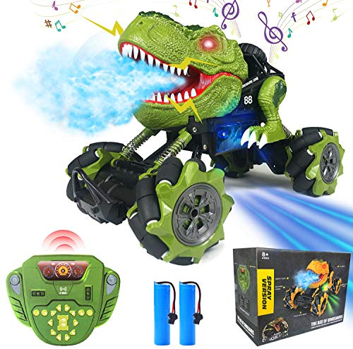Remote Control Car, RC T-Rex 1:16 Powerful Off Road Dinosaur Drift Monster Truck Toy for Boys Girls, Flash Roar Spray Dance & User Programmable Function 4WD 2.4Ghz 2 Rechargeable Batteries