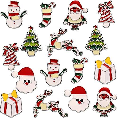 Outus 16 Stück Weihnachten Broschen Pins Neuheit Cartoon Broschen für Kleidung Taschen Jacken Schmuck DIY Zubehör