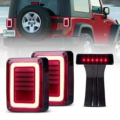 Upgraded JK LED Tail Lights Smoked & Smoked Third High Brake Light - Reverse Lights Turn Signal Lamps Brake Lights Running Lights Compatible with Jeep Wrangler JK 2007-2018