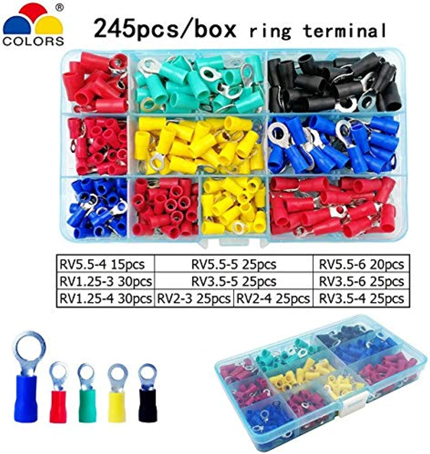 colors SN02C 01C 0725 Crimping Pliers 0.25 0.5 1.5 2.5mm2 2313AWG for Insulation Terminal clamp selfAdjusting Hand Tools   245PCS Terminal
