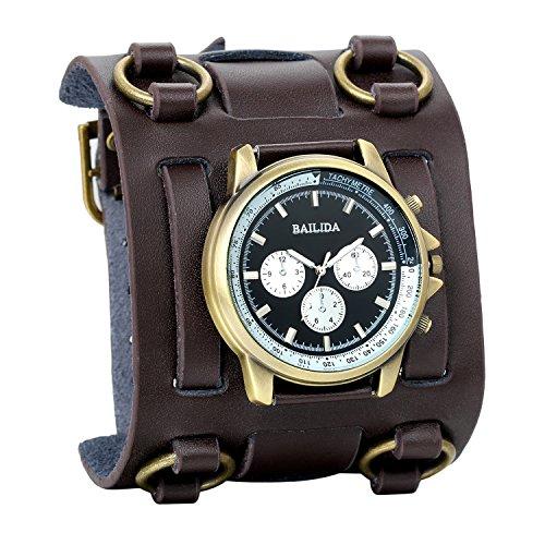 Avaner Reloj de Pulsera Grande Hip Hop para Hombre, Reloj de Cuero Correa Ancha de Estilo Piloto, Marron Bronce Reloj Original Regalo para Hombres