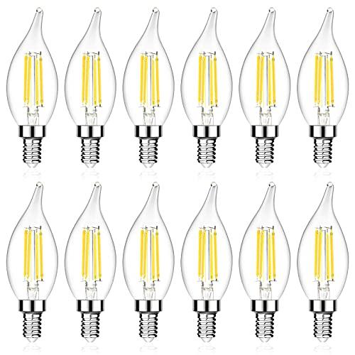 Ascher E12 Candelabra LED Light Bulb, 60 Watt Equivalent, 550 Lumens, Daylight White 5000K, Flame Tip Decorative LED Filament Candle Bulb, E12 Base, Non-Dimmable, Pack of 12