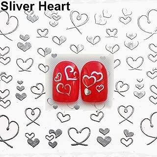 YuYe 3D Bowknot Heart Nail Art Tips Decor Studs Sticker DIY Decoration Manicure Decals - Sliver Heart