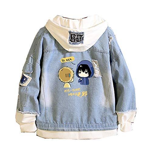 XIEZINB jas Tokyo Ghoul Denim Jacket herenjack casual denim jack katoen hennep cap lange mouwen denim bomberjack