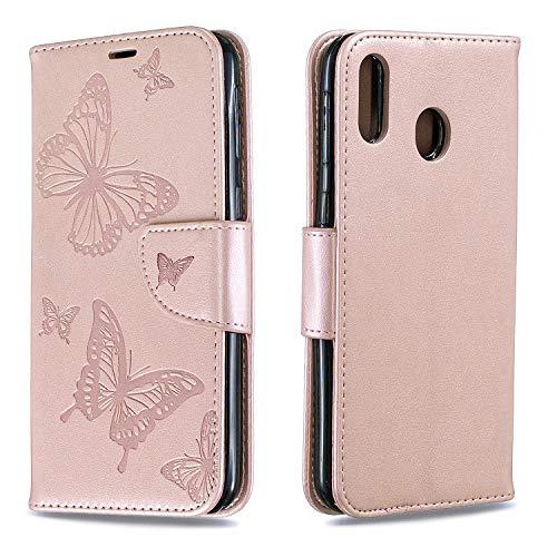 Hülle für Galaxy M20 Hülle Leder,[Kartenfach & Standfunktion] Flip Case Lederhülle Schutzhülle für Samsung Galaxy M20 - EYBF080277 Gold