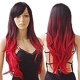 S-noilite® 70cm Damen Lang Ombre Haar Perücken Mode Gelockt Gewellt Perücke Kunsthaar Haar Cosplay Wig - Schwarz zu Rot