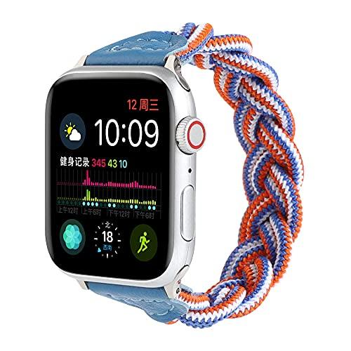 CHENPENG Correa Deportiva Trenzada elástica Compatible con Apple Watch Series 1/2/3/4/5/6 SE Reemplazo de Pulsera Hecha a Mano para Hombres y Mujeres Banda de reemplazo,8,42mm