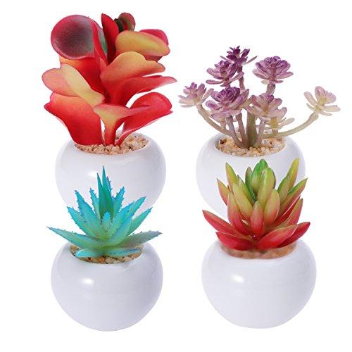 4 piezas de plantas artificiales y flores en macetas contenedor para decoración del hogar interior al aire libre macetas pequeñas suculentas plantas arreglos para decoración