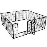 Yaheetech 8-TLG Welpenlaufstall Freilaufgehege mit Tür Laufstall für Hunde/Kaninchen/Kleine...