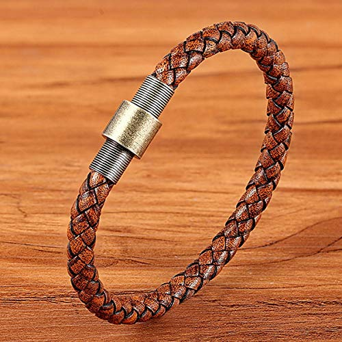 QFJCNZ Braccialetto Bottone Magnetico Vintage in Acciaio Inossidabile Cinturino in Vera Pelle Intrecciata Marrone Orologio da Donna Accessori Uomo Gioielli