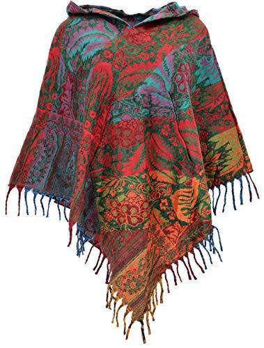 GURU SHOP Ethno, Hippie Poncho mit Langer Zipfelkapuze, Damen, Rot/orange, Synthetisch, Size:40, Jacken, Mäntel & Ponchos Alternative Bekleidung